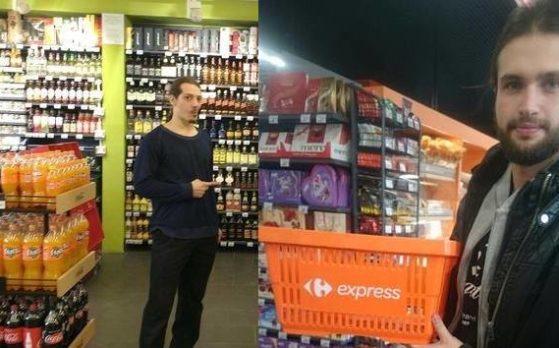 dwóch statystów na sesji zdjęciowej w markecie